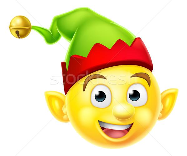 Christmas Elf Emoticon Stock photo © Krisdog