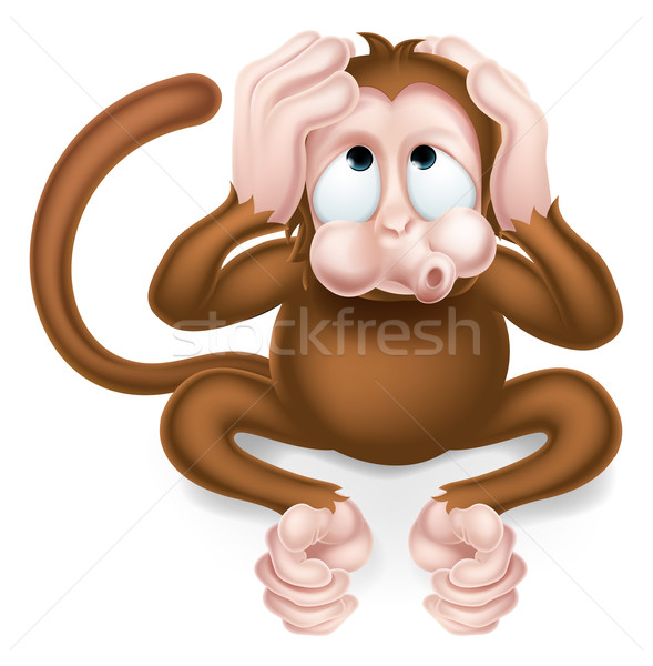 Hear no Evil Cartoon Wise Monkey Stock photo © Krisdog