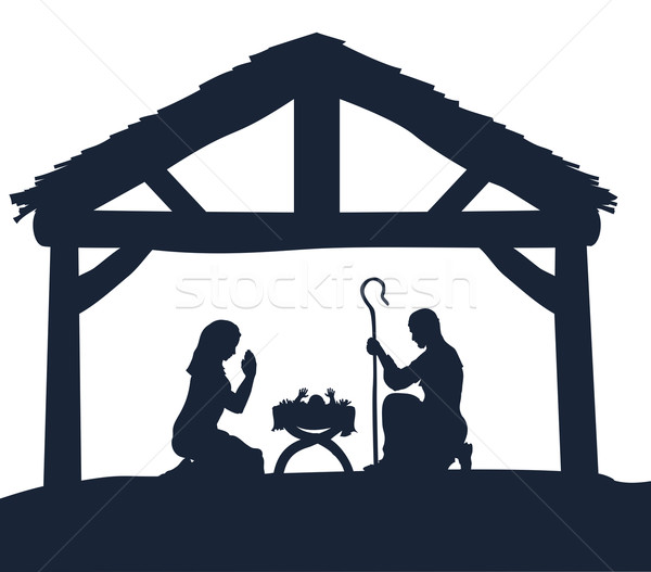 Nativity Christmas Scene Silhouettes Stock photo © Krisdog