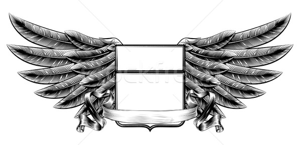Woodcut winged shield banner Stock photo © Krisdog