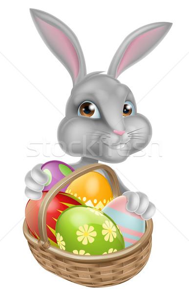 Cute Cartoon Conejo de Pascua alrededor cesta completo Foto stock © Krisdog