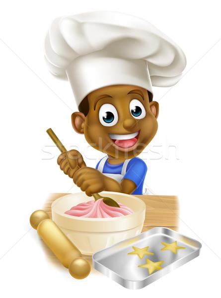 Rajz szakács fiú fiatal fekete gyerek Stock fotó © Krisdog