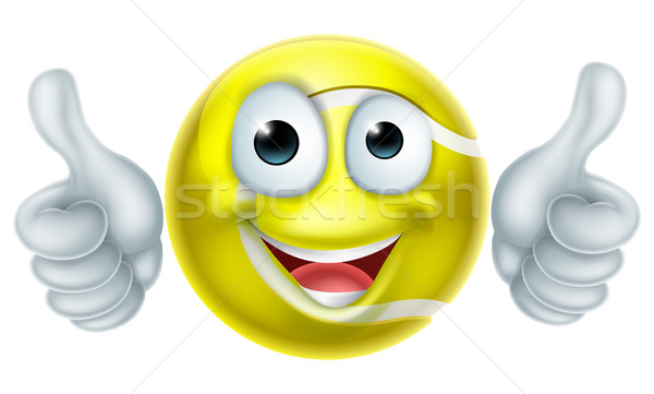 Foto stock: Cartoon · pelota · de · tenis · hombre · carácter · feliz · mascota