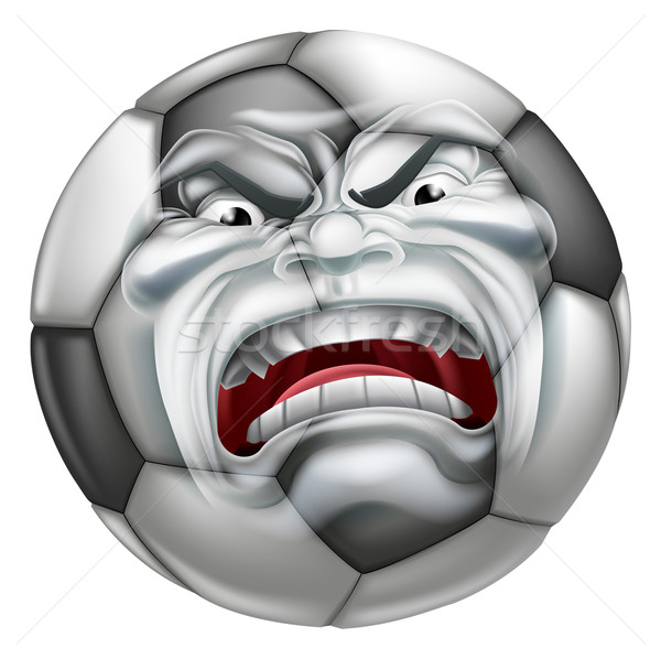 Angry Soccer Football Ball Sports Cartoon Mascot Stock photo © Krisdog