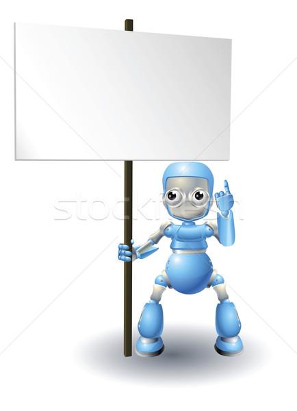 Sevimli robot karakter imzalamak mavi Stok fotoğraf © Krisdog