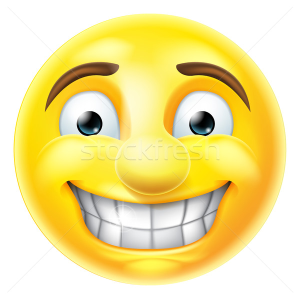 Nervous Grin Emoji Emoticon Stock photo © Krisdog
