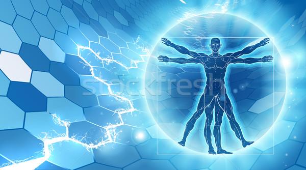 男 六角形 青 のような 解剖 実例 ストックフォト © Krisdog
