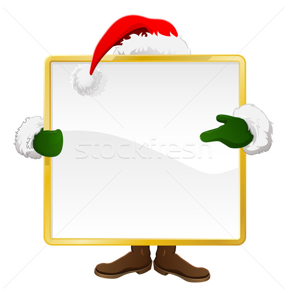 Santa behind Christmas sign Stock photo © Krisdog