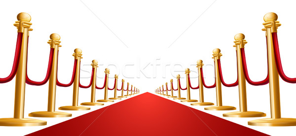 Fluwelen touw rode loper illustratie Rood deur Stockfoto © Krisdog
