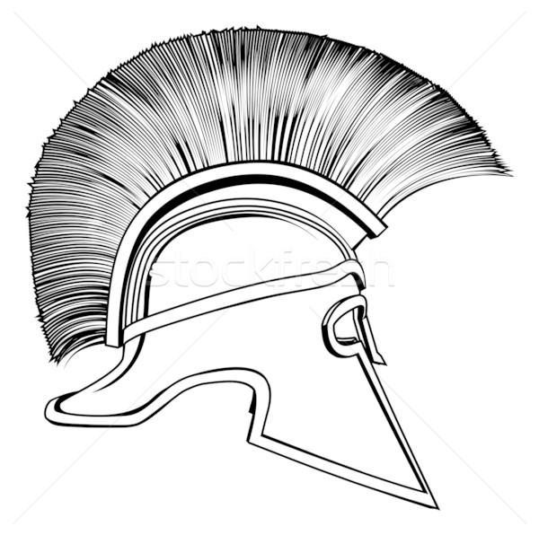 Сток-фото: черно · белые · древних · греческий · воин · шлема · иллюстрация