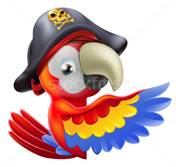 Parrot pirate pointing Stock photo © Krisdog