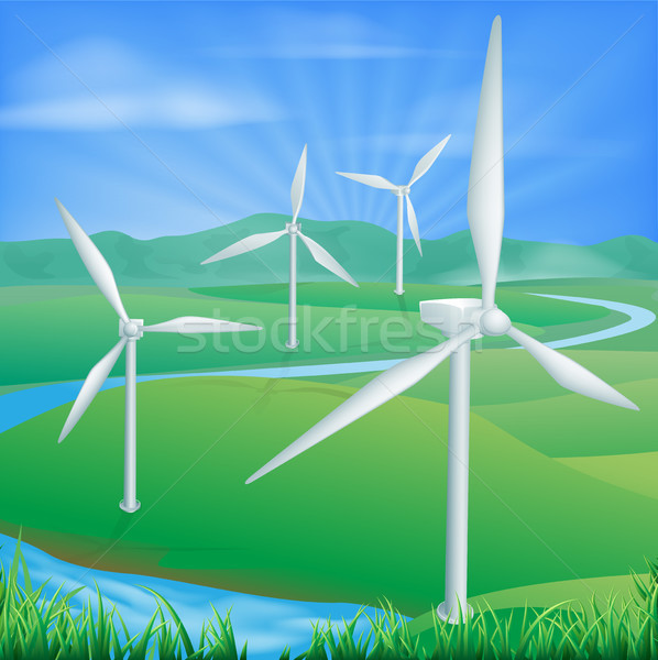 Wind power energy illustration Stock photo © Krisdog