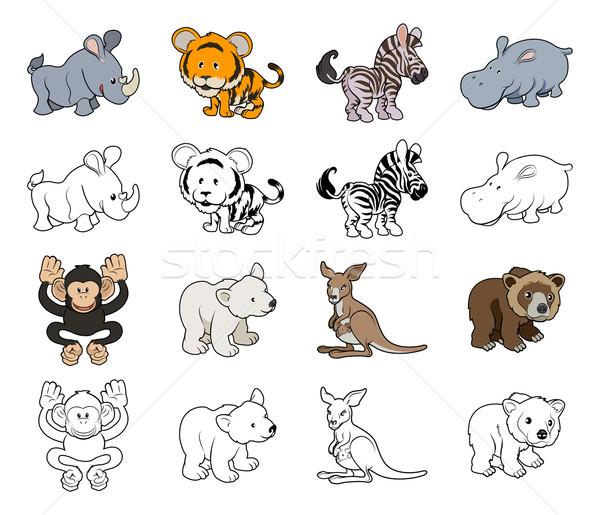 Cartoon Wild Animal Illustrations Stock photo © Krisdog