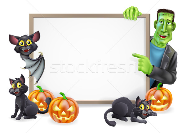 Halloween Sign with Bat and Frankenstein Stock photo © Krisdog