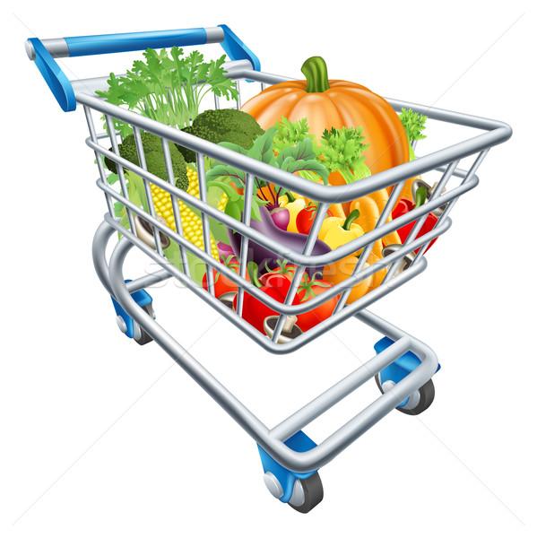 Plantaardige winkelwagen illustratie vol gezonde verse groenten Stockfoto © Krisdog