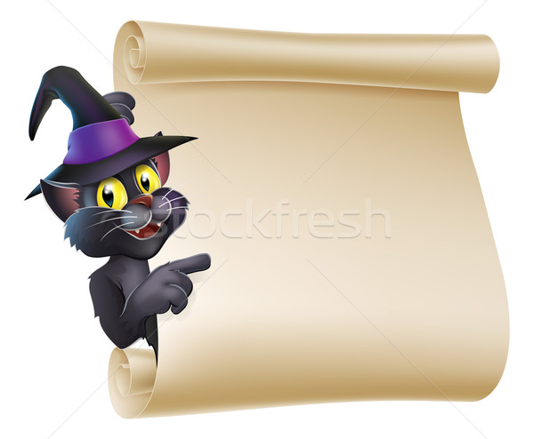 Halloween Witch Cat Scroll Stock photo © Krisdog