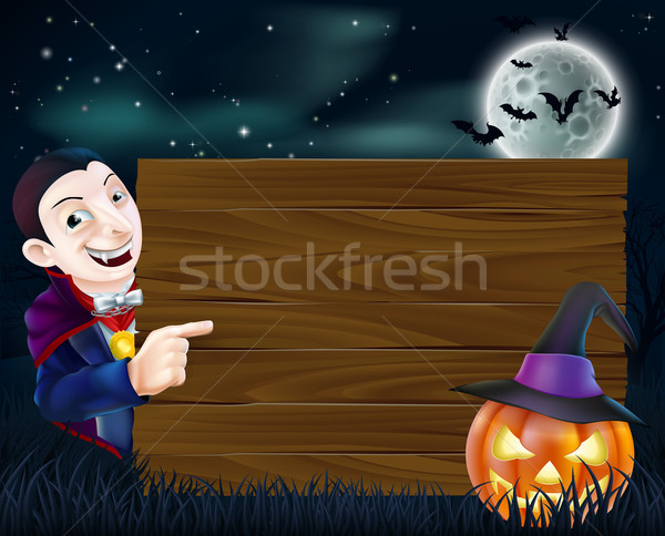 Halloween Dracula wooden sign Stock photo © Krisdog