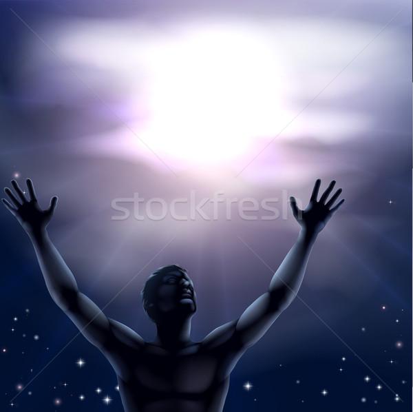 Sziluett férfi karok a magasban illusztráció kezek felfelé Stock fotó © Krisdog
