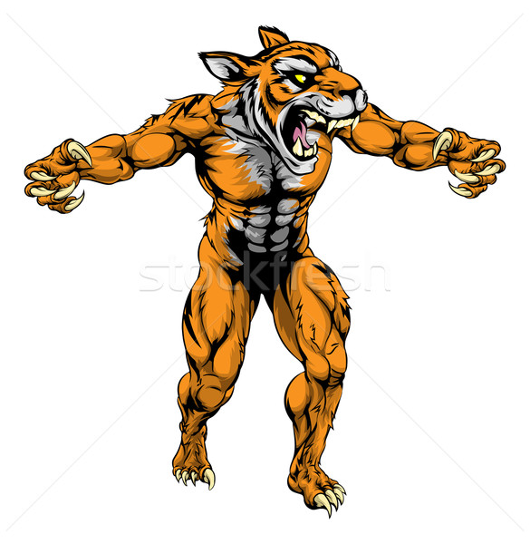 Tigre effrayant sport mascotte illustration Photo stock © Krisdog