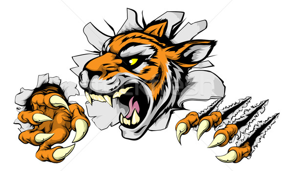 Stock photo: Angry Tiger sports mascot