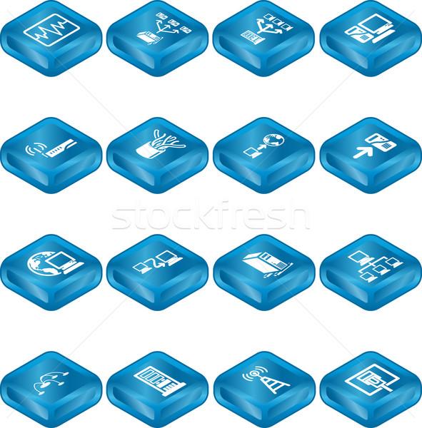 Stock fotó: Hálózat · számítástechnika · ikon · szett · ikonok · számítógép · hálózatok