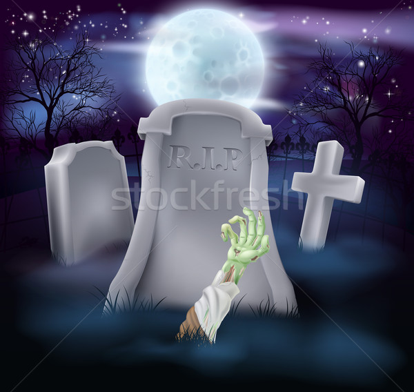Zombie grave Halloween illustration Stock photo © Krisdog