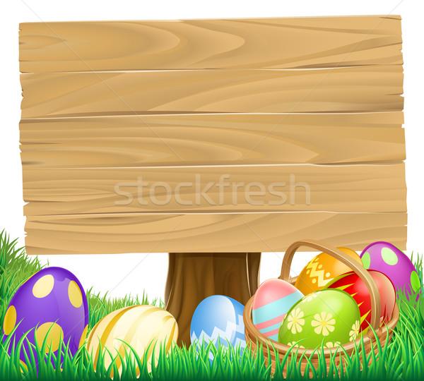 Wooden Easter Egg Sign Stock photo © Krisdog