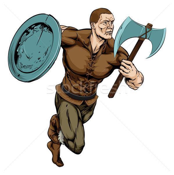 Hacha guerrero ilustración duro mirando mascota Foto stock © Krisdog