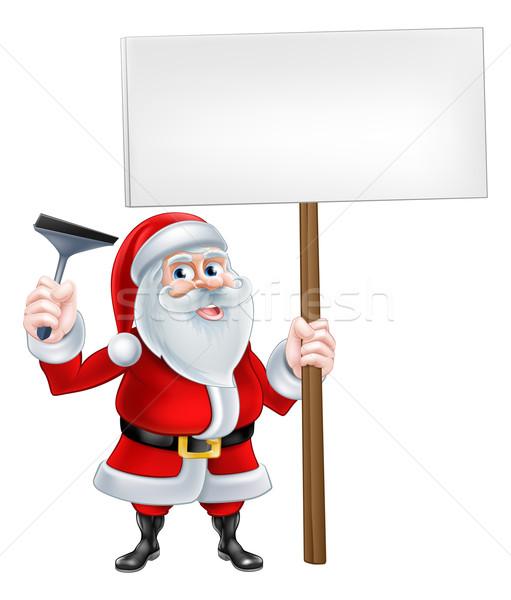 Limpador de janelas assinar natal desenho animado ilustração Foto stock © Krisdog