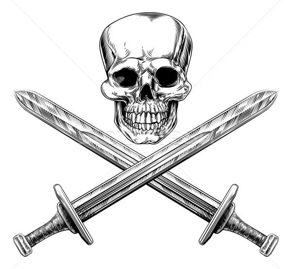 Skull and Swords Pirate Sign Stock photo © Krisdog