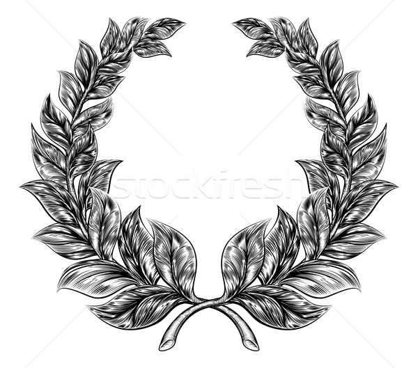 Woodcut style Laurel Wreath Stock photo © Krisdog