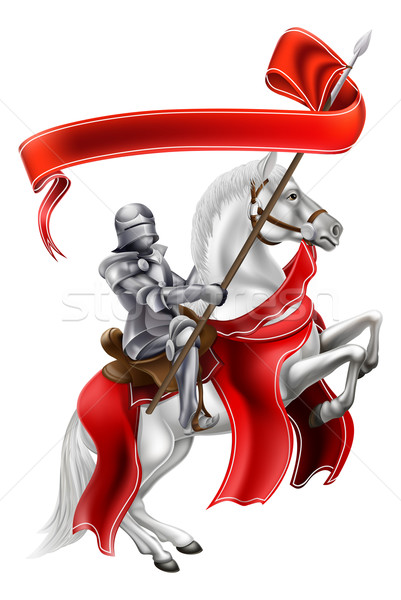Zdjęcia stock: średniowiecznej · banner · rycerz · konia · powrót