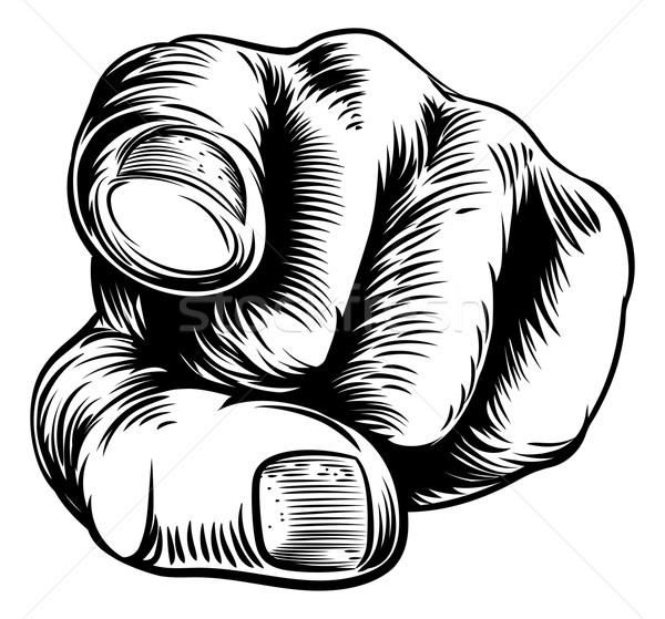 Kéz mutat ujj klasszikus stílus fekete Stock fotó © Krisdog