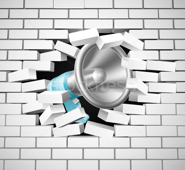 Megaphone Breaking Brick Wall Stock photo © Krisdog