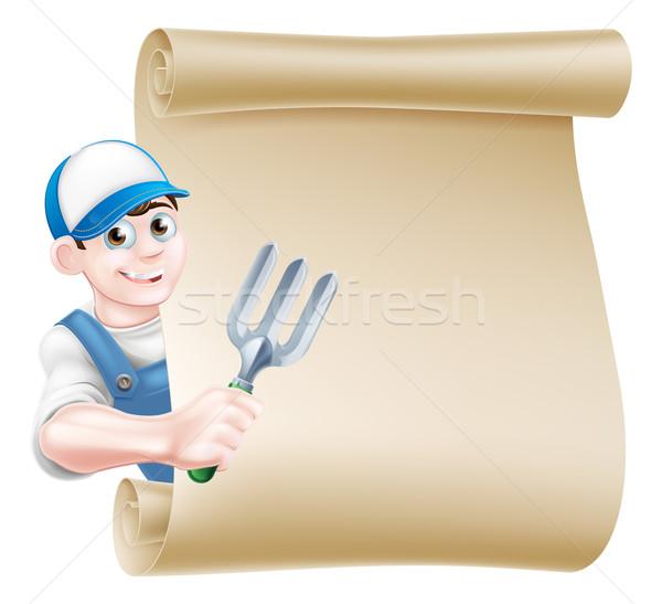 Cartoon Gardener Scroll Stock photo © Krisdog