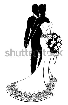Stock photo: Bride and Groom Husband and Wife Wedding Silhouette