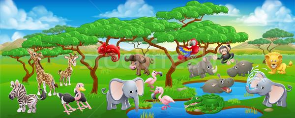 Cute Cartoon Safari животного сцена пейзаж Сток-фото © Krisdog