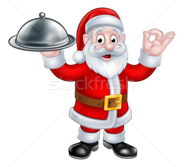 Santa Claus with Christmas Food Plate Stock photo © Krisdog