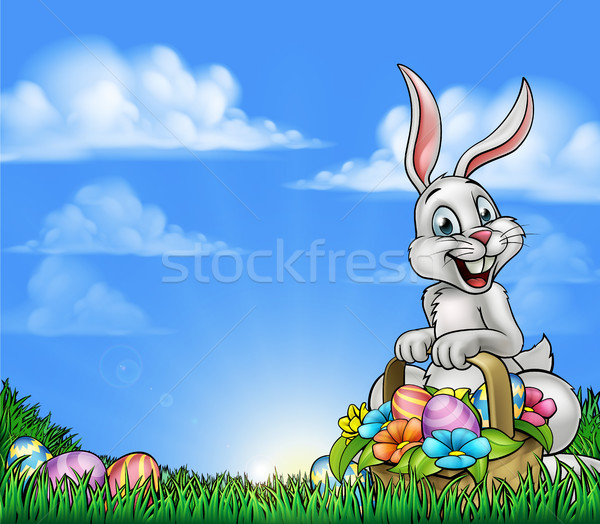 Easter Background with Bunny and Eggs Stock photo © Krisdog