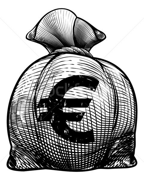 Euros signe toile de jute sac argent sac Photo stock © Krisdog