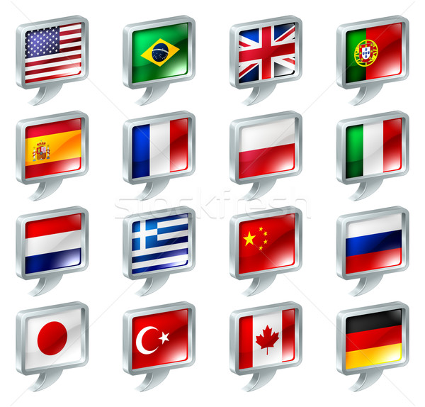 Flag speech bubble icons buttons Stock photo © Krisdog