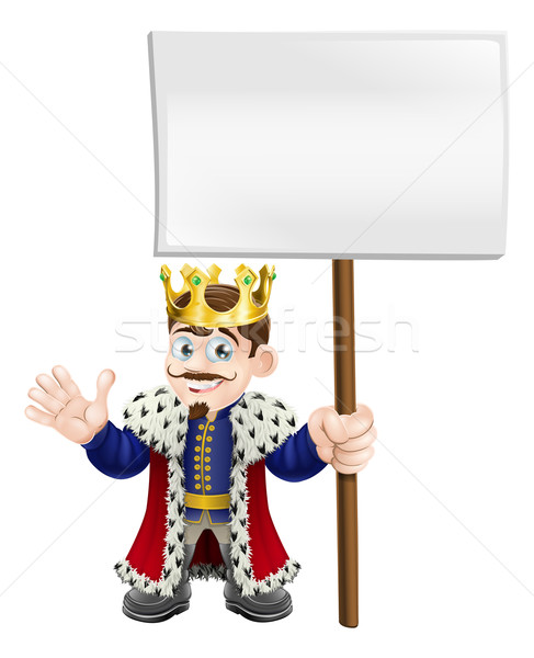 Cartoon King holding a sign Stock photo © Krisdog