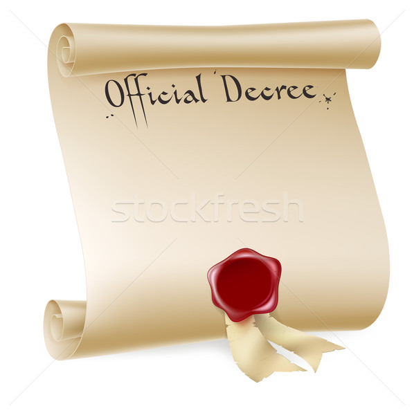 Official Decree Scroll With Red Wax Seal Stock photo © Krisdog