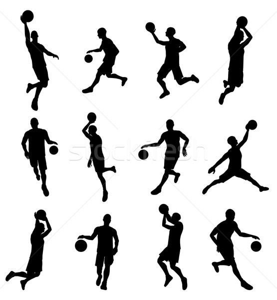 Stock photo: Basketballl player silhouettes