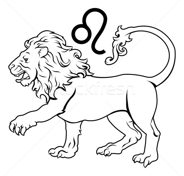 Zodiac horoscope astrologie signe illustration lion Photo stock © Krisdog