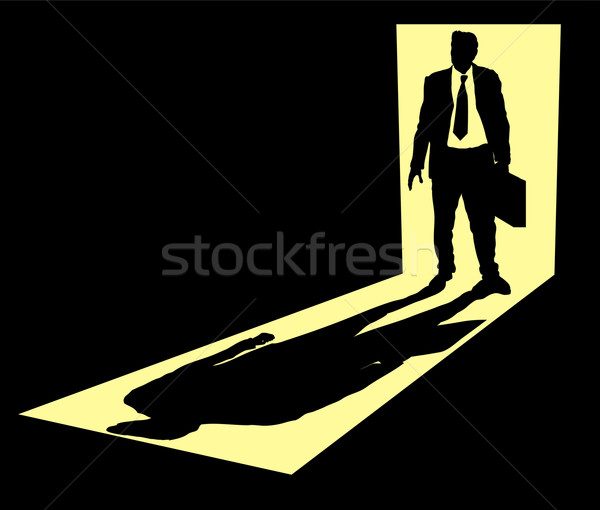Illustratie zakenman aktetas permanente deuropening man Stockfoto © Krisdog