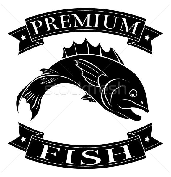 Foto stock: Prêmio · peixe · ícone · frutos · do · mar · comida · etiqueta
