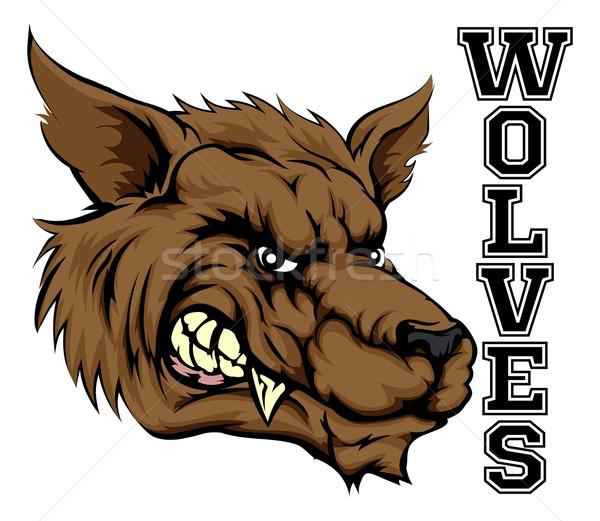 Сток-фото: спортивных · талисман · иллюстрация · волка · голову