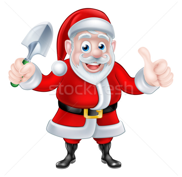 Cartoon Santa Giving Thumbs Up Holding Trowel Spade Stock photo © Krisdog
