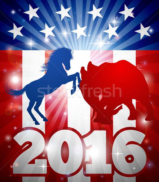 2016 amerikan seçim dizayn maskot hayvanlar Stok fotoğraf © Krisdog